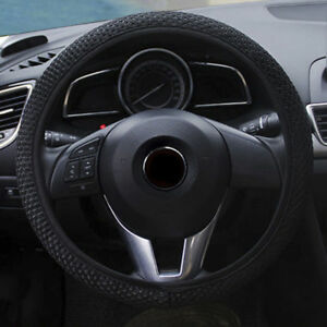 BLACK-PU-LEATHER-LOOK-UNIVERSAL-CAR-VAN-STEERING-WHEEL-COVER-GLOVE-PROTECTOR-38C