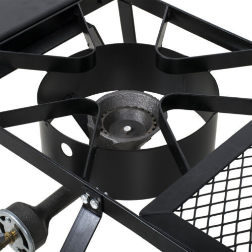 Double Burner Outdoor Portable Patio Stove Outdoor Range with Side Shelves