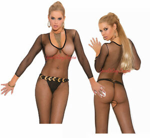 989cfc3c5ee Image is loading Black-DEEP-V-FISHNET-BODYSTOCKING-Long-Sleeve-CROTCHLESS-