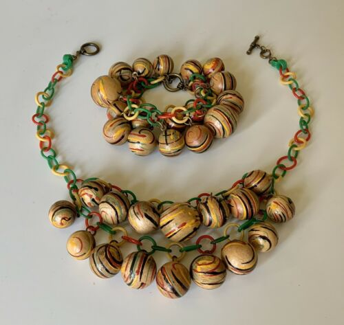 Vintage 1940s  Celluloid Chain & Painted Wood Ball