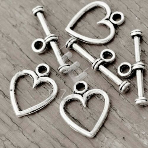 150pcs Tibetan Silver Bar Ring Toggle Clasps Heart 14x11x1//19x6.5x2mm YB