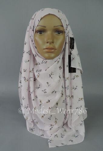 Chiffon Floral Print Maxi Hijab Scarf  Shawl Wrap Muslim Headwear 180x70 cm