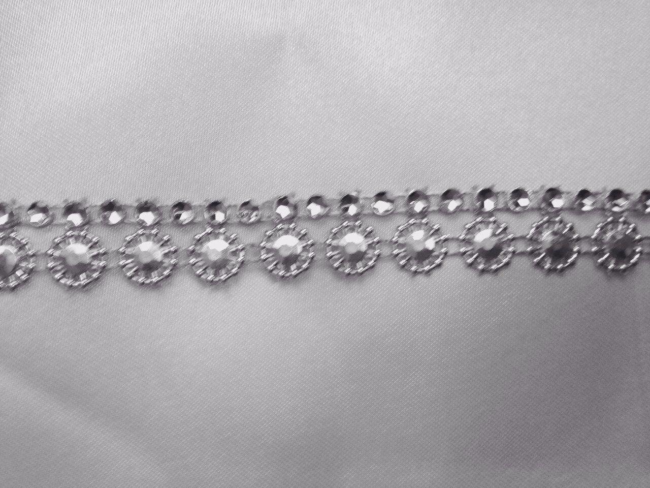 STUD Sunflower Silver DIAMANTE EFFECT RIBBON TRIM,WEDDING,Decorate,CRAFT,15mm