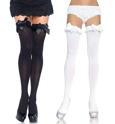 Black And White Opaque Thigh High Stockings Size OS