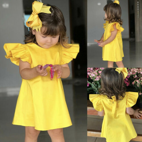 Fashion Infant Baby Girls Fly Sleeve Solid Print Cotton Bow Dress Clothes Dress