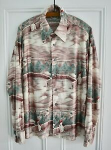 70/'s Vintage Shirt for woman with flowers paints