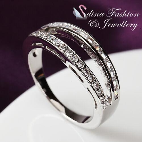 18K White Gold Plated Simulated Diamond Studded Stylish Split Band Ring