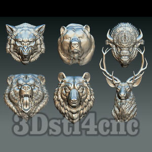 6-3D-STL-Models-Animal-Head-for-CNC-Router-Carving-Machine-Relief-Artcam-aspire