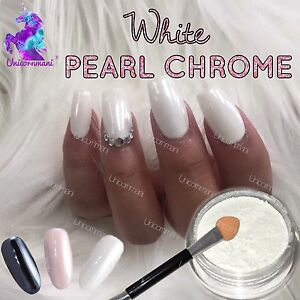 Image Is Loading White Chrome Powder Matte Pigment Pearl Nails Nail