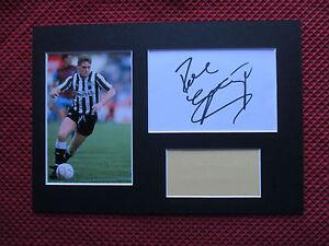 NEWCASTLE UNITED PAUL GASCOIGNE GAZZA SIGNED CARD & PHOTO A4 MOUNT DISPLAY - COA