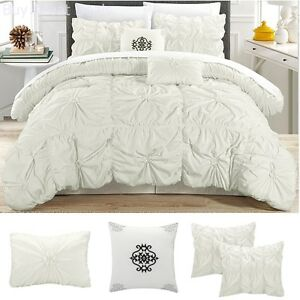 Image Is Loading Comforter Microfibe Ruched Bedding Set King Size Bed