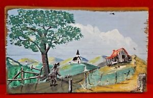 Appalachian-Country-Decor-Folk-Art-Painting-on-Wood-Cabin-Church-Artist-Signed