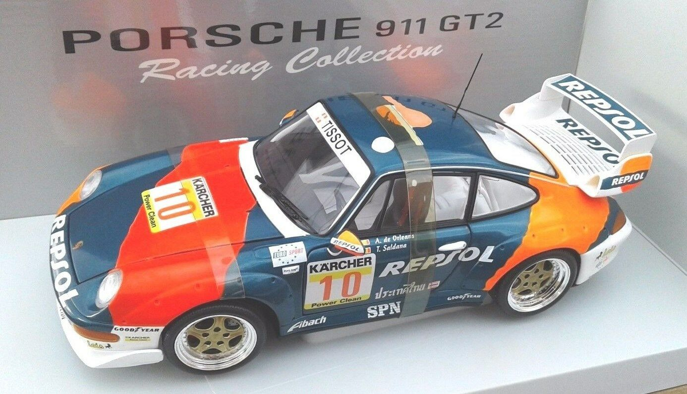 1 18  UT Minichamps models,   PORSCHE 911 GT2 , REPSOL, dr. Saldana,  mint +++