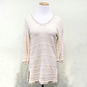 c13f5a30804 St. John Sport crochet knit wool sweater cream ivory v-neck petite ...
