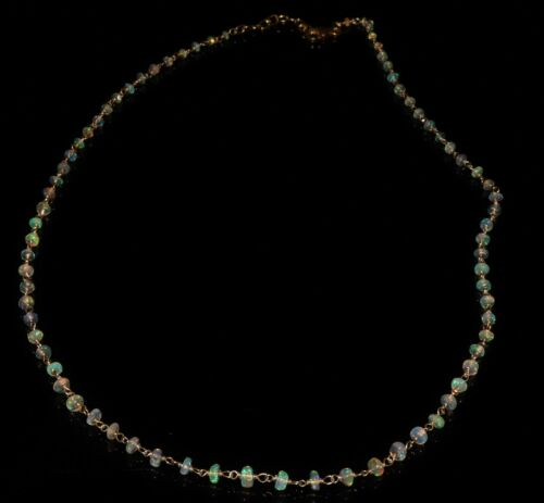 22 TCW  2-3.5 mm Beads 925 sterling silver with Genuine  Ethiopian opal Necklace