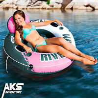 Pink Inner Tube Float Swimming Pool Raft Water Summer Lake Inflatable Lounge