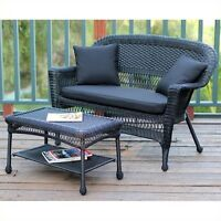 Jeco Wicker Patio Love Seat And Coffee Table Set In Black With Black Cushion on sale