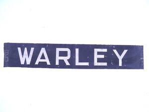 Vintage-screen-printed-linen-Bus-destination-blind-Warley