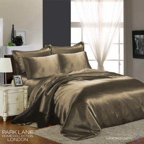 NEW Luxury FSTL Silk 6Pcs Satin Complete Bedding Sets Duvet Cover Fitted Sheet