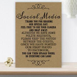 Wedding-No-Photos-On-Social-Media-Sign-Poster-Poem-Vintage-BUY-2-GET-1-FREE-B10