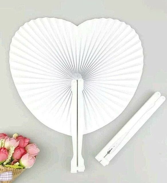 Clone Of 100 X Heart Shaped Paper Fans Wedding Party Favor