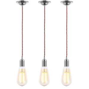 diy cable lighting. Image Is Loading 3x-Red-Braided-Cable-Lighting-amp-Teardrop-Gold- Diy Cable Lighting