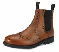 Leather Collection Benchgrade Evesham Welted Sole Brogue Dealer Boots Tan Brown