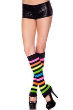Black Neon Multi-Color Rainbow Leg Warmer Boots Stripes Bright Colors Rave Party