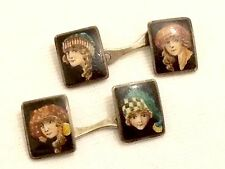 Rare Fantastic Antique 800 Silver & Painted Enamel Miniature Portrait Cufflinks