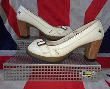 Rare*Latoya*Winter White Dr Doc Martens Peep Toe Heels*Shoes*Pin Up*50s*Bridal*7