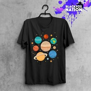 Solar-System-T-Shirt-Planets-Short-Sleeve-Space-Tee-Science-Hand-Made-Clothes
