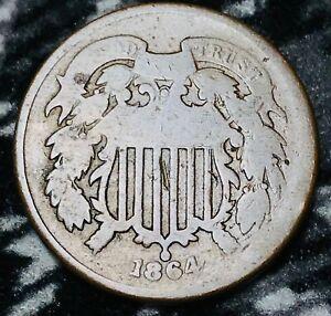 1864 Two Cent Piece 2C Ungraded Good Date Civil War Era US Copper Coin CC6580