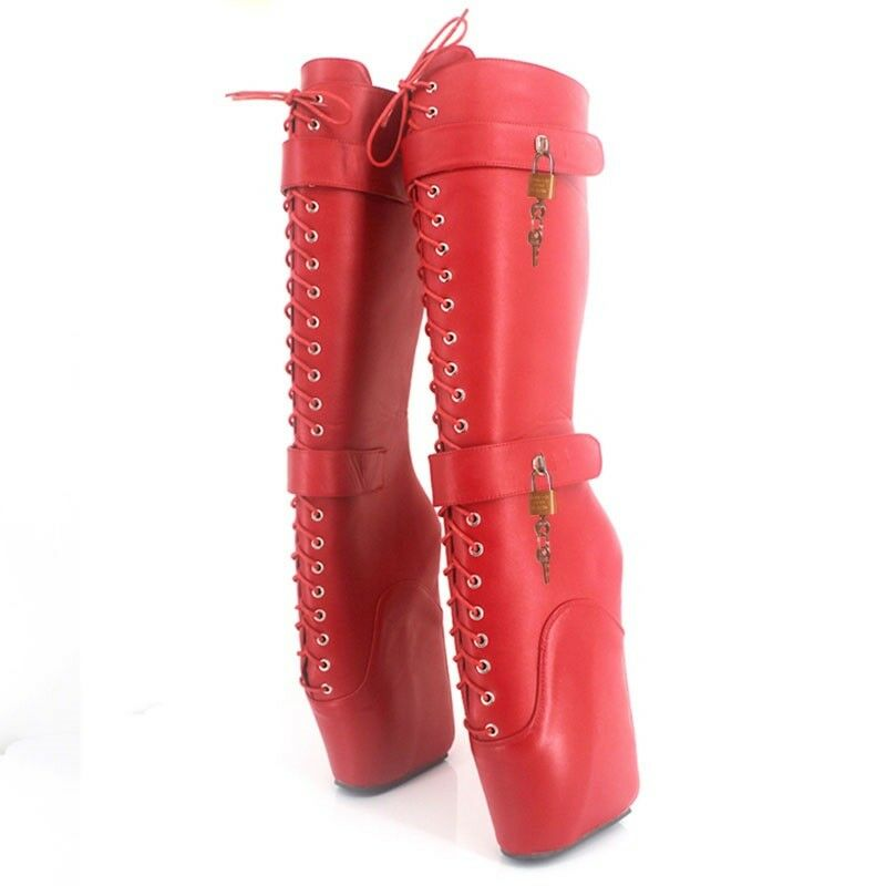 RED LEATHER KNEE High LOCKING PONY Ballet Boots, high heals, sexy boot 18 CMS