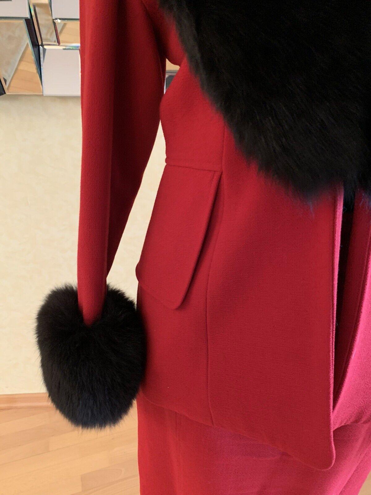 Zang Toi Star Designer Kostüm US 6 D36 rot Fell einzigartig Sammlerstück Vintage