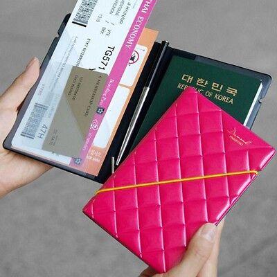 Short Leather 3D Diamond Travel Passport Cover Credit ID Card Cash Holder Wallet