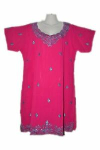 Pakistani-Indian-Women-PINK-Kurti-Ethnic-Embroidery-Kurta-Kaftan-Top-Size-16