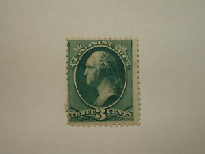 USA Stamp Scott #207, THREE CENTS, Blue Green