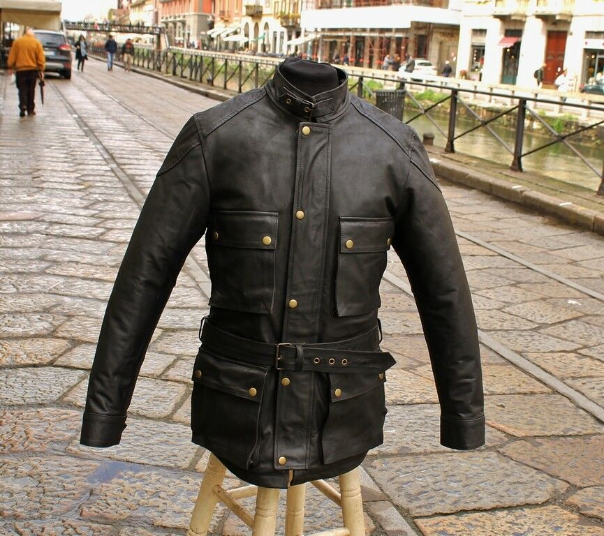 Giubbotto cappotto trench pelle moto stile cafe racer byker marrone Guendj