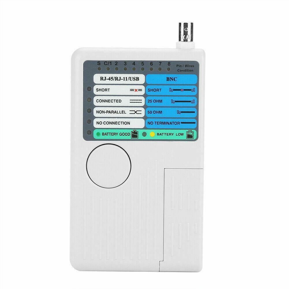 RJ45 RJ11 USB BNC Cable Tester For CAT5/5E/6 Ethernet LAN Telephone CCTV Testing