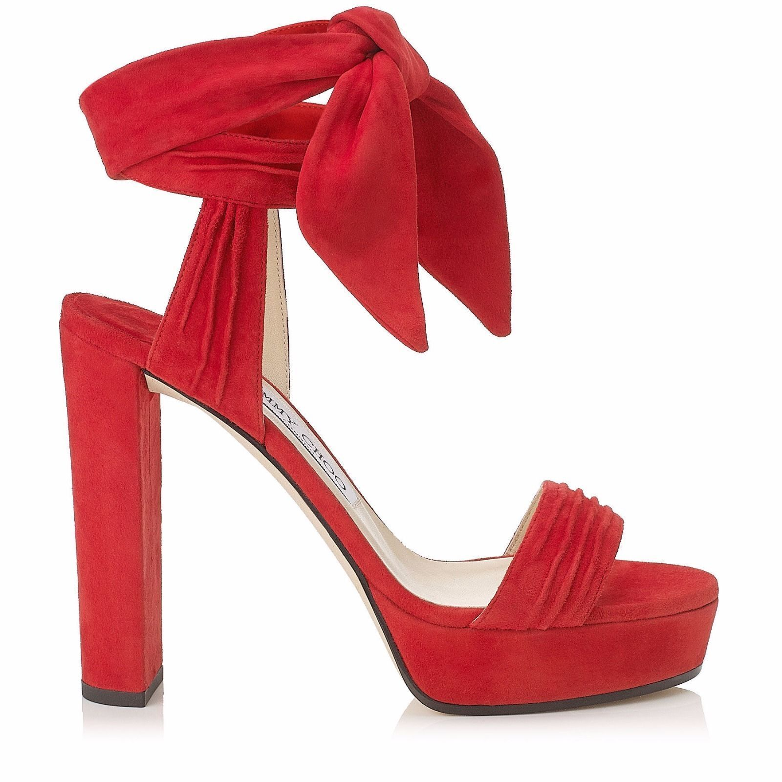 1 RIGHT SHOE ONLY Jimmy Choo Kaytrin Rosso Suede Platform Sandals size 37.5  895