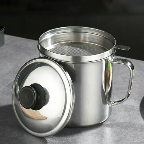 1.8L Stainless Steel Oil Filter Pot Cooking Soup Grease Strainer Separator Home