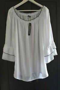 Unique-Spectrum-Boho-Peasant-Tunic-Blouse-White-Black-Rayon-Blend-Plus-Size-3X