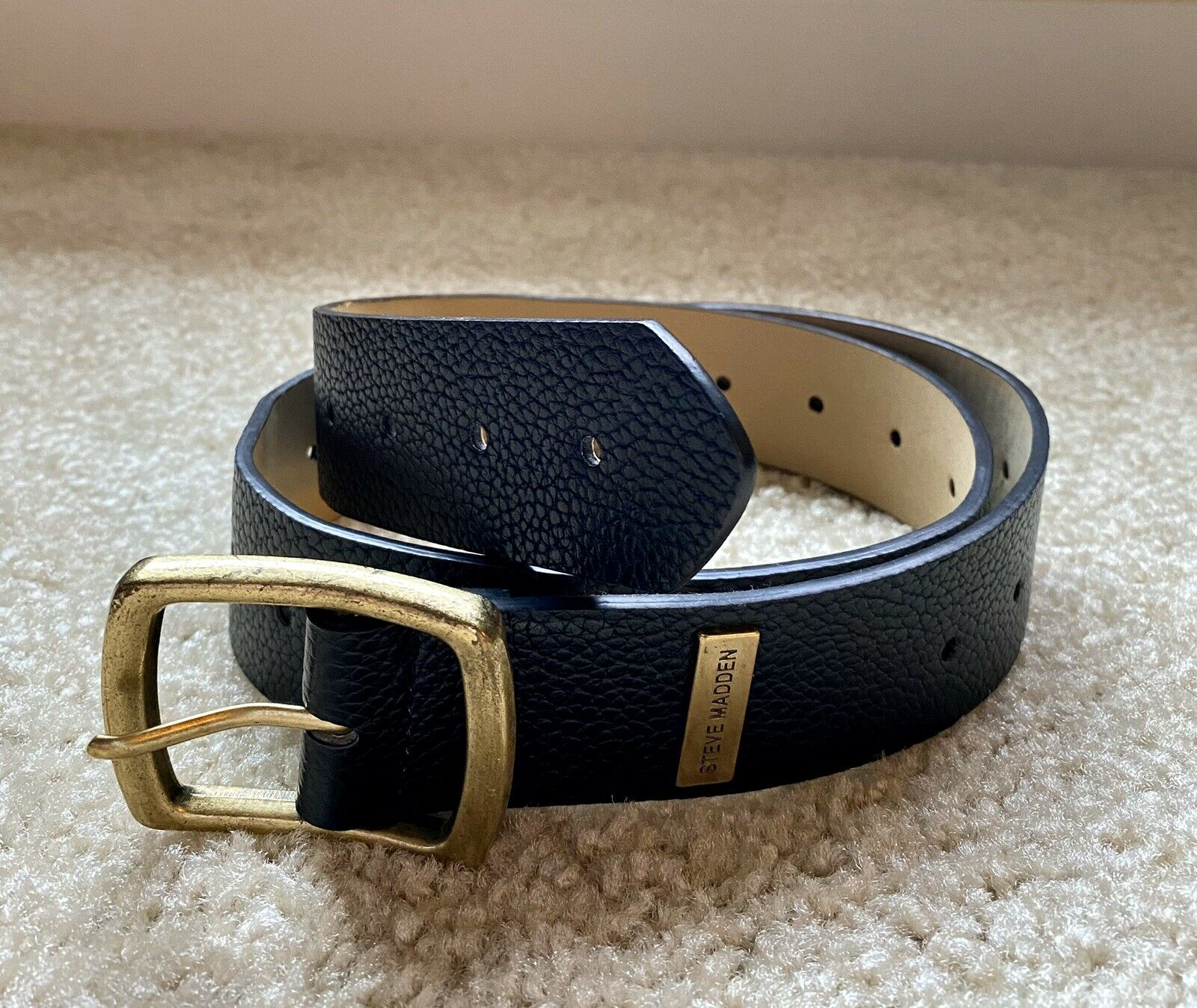 * Nuevo * STEVE MADDEN negro Hebilla Cinturón De Cuero Hombre 30 pulgadas