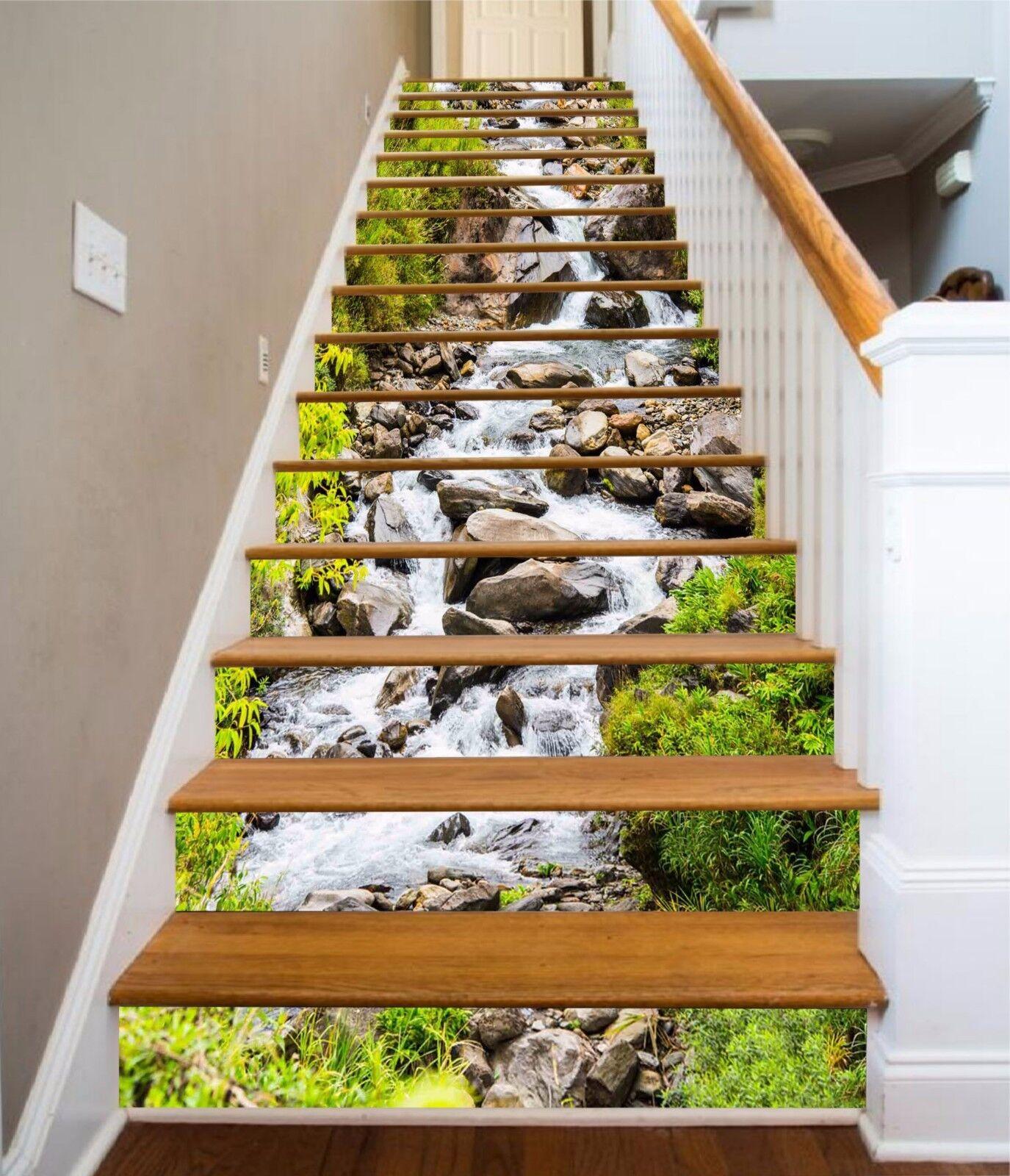 3D Stream Stone 829 Stair Risers Decoration Photo Mural Vinyl Decal Wallpaper AU