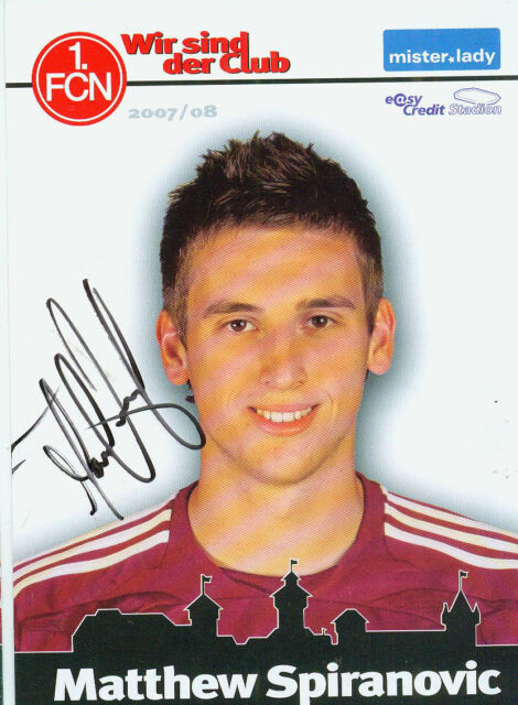 Autogrammkarte 1. FC Nürnberg Matthew Spiranovic