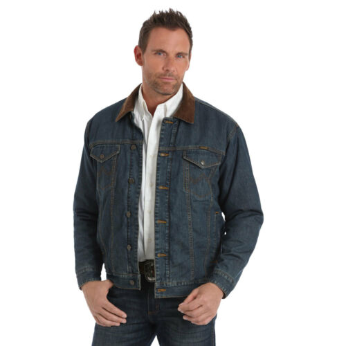 74265CD Wrangler Men/'s Conceal Carry Blanket Lined Denim Jean Jacket NEW