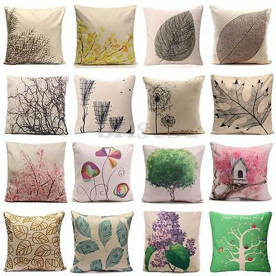 Cotton Linen Forest Throw Pillow Case Cover Bed Sofa Pack Cushion Home Decor