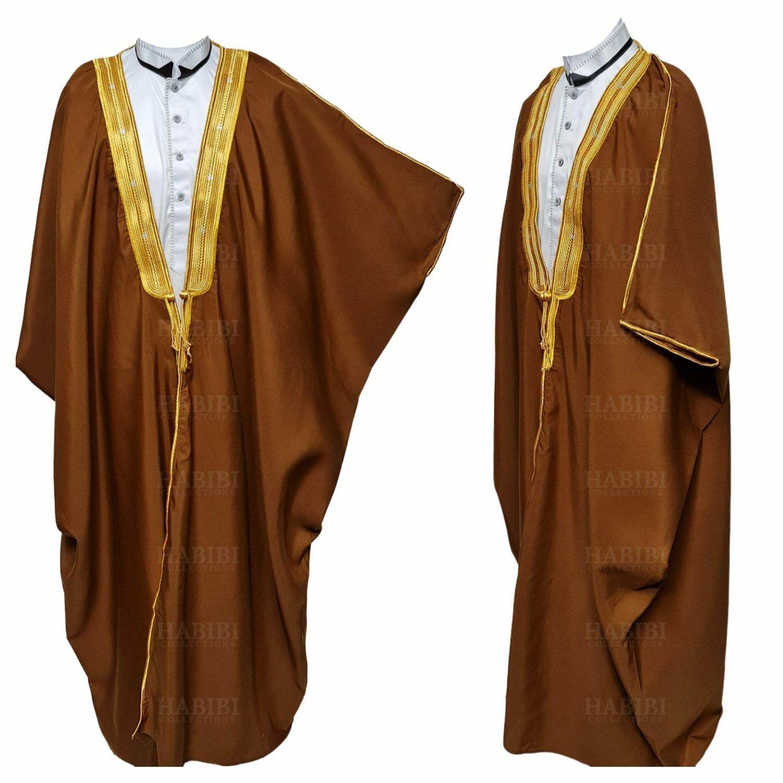 Men's PREMIUM 3 Quarter Sleeve Arabian Bisht Brown Gold Cloak Arab Dress Thob...