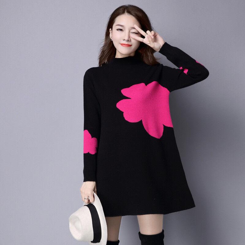 New Autumn Winter Korean Fashion Elegant Temperament Looseknitting Sweater Dress