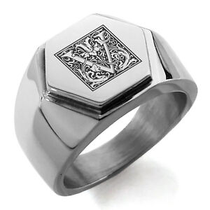 Tioneer Stainless Steel Letter W Initial Floral Box Monogram Shield Biker Style Polished Ring